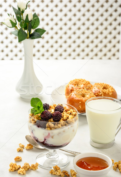 Breakfast of granola, buns brioche, honey and milk. Stock photo © markova64el