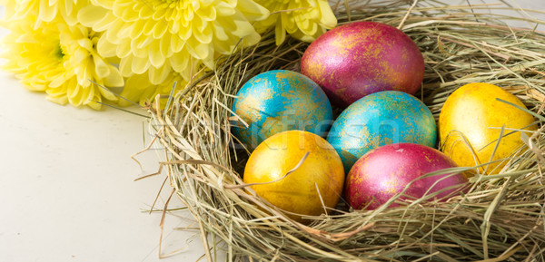 Easter eggs in a straw nest, Easter bunny cookies and flowers  Stock photo © markova64el