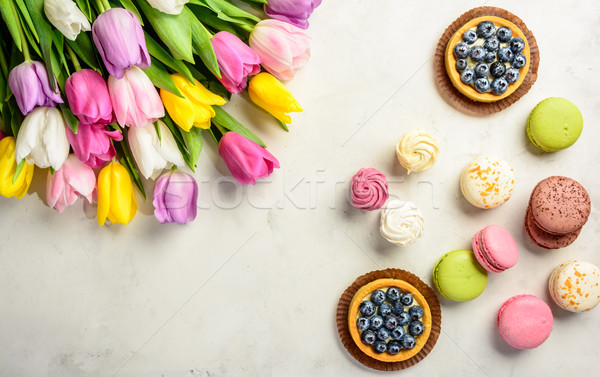 bouquet of tulips on white background. Top view. Stock photo © markova64el