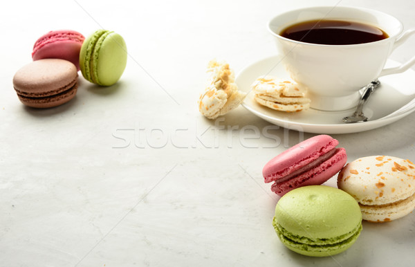 Tea with  macaroons. Copy space .  Stock photo © markova64el