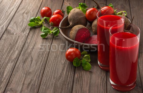 Dzsúz zöldségek sötét fából készült egészséges étkezés diétázás Stock fotó © markova64el