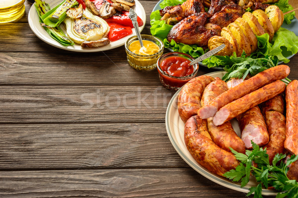 Dinner table with variety food.Copy space. Stock photo © markova64el