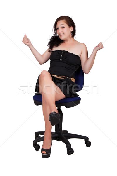 женщину Председатель черное платье сидят офисные кресла женщины Сток-фото © maros_b