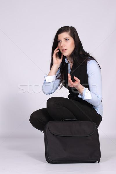 Fiatal nő hív táska laptop telefon számítógép Stock fotó © maros_b