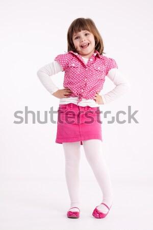 Little girl pré-escolar modelo rosa saia sandálias Foto stock © maros_b