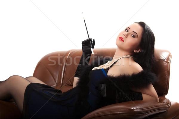 Retro vrouw stoel jonge vrouw kleding groot Stockfoto © maros_b