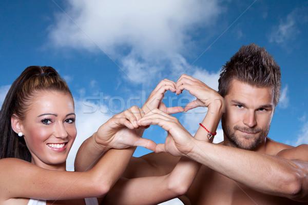 Mãos forma de coração céu livre lugar Foto stock © maros_b