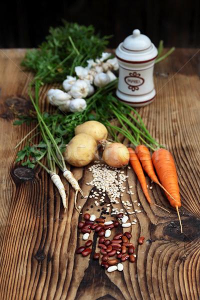 Stockfoto: Ingrediënten · plantaardige · bonen · wortelen · peterselie · uien