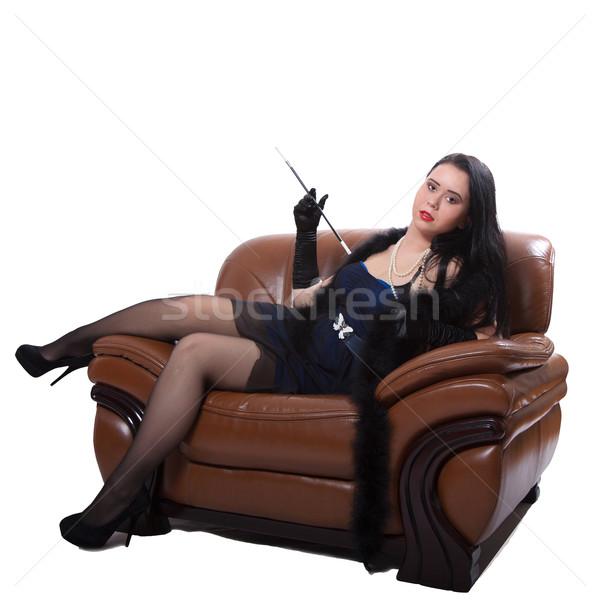 Photo stock: Rétro · femme · président · jeune · femme · vêtements · grand