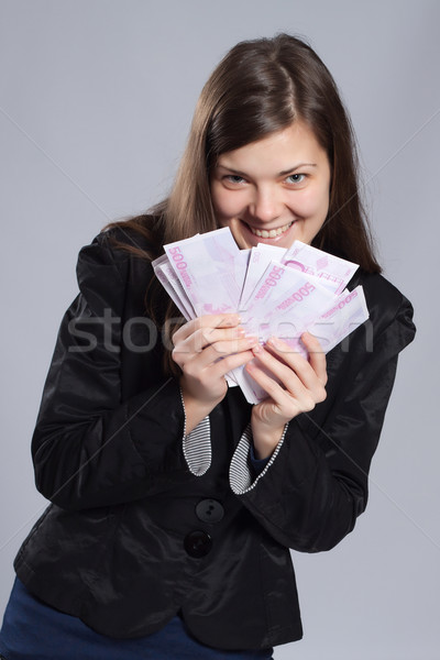 Jovem mulher dinheiro euros negócio Foto stock © maros_b
