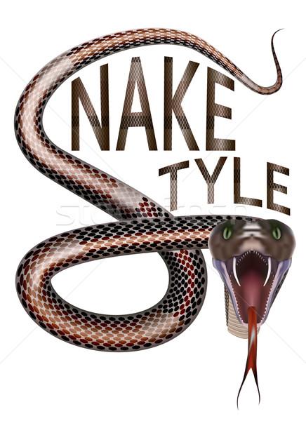 Serpente estilo carta abrir boca Foto stock © maros_b