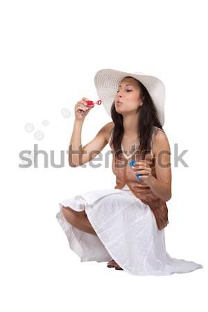 Donna bianco bruna abito bianco Foto d'archivio © maros_b