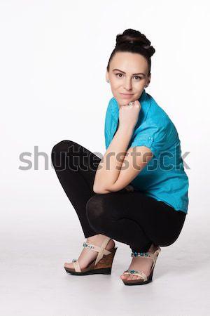 Fiatal nő érdekes hajviselet türkiz póló fekete Stock fotó © maros_b