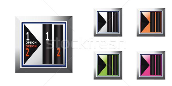 Кнопки набор квадратный серебро зеленый оранжевый Сток-фото © maros_b