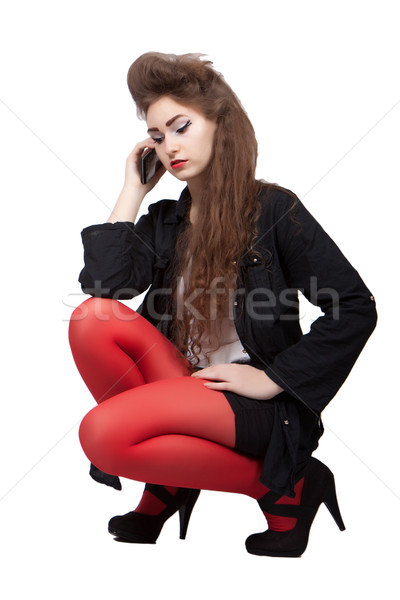 Teenage girl in black and red clothes Stock photo © maros_b