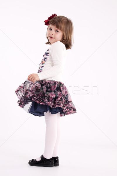 Little girl pré-escolar modelo saia flor cabelo Foto stock © maros_b