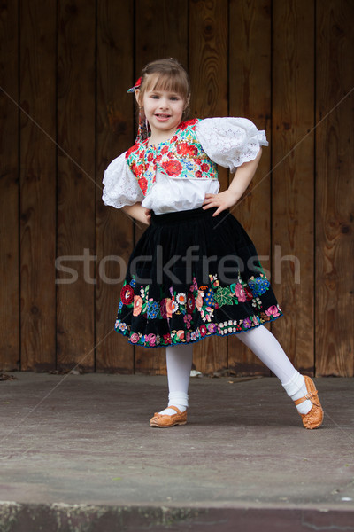 Dancing little girl acting on the stage Stock photo © maros_b
