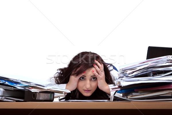 Fiatal női irodai dolgozó néz köteg papírok Stock fotó © maros_b