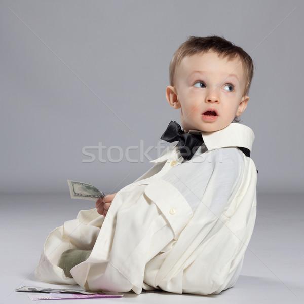 Сток-фото: мальчика · бизнесмен · сидят · деньги