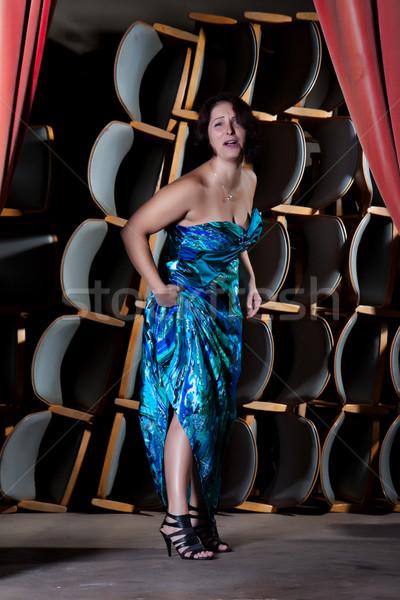 Genç aktris sahne mavi elbise oynama Stok fotoğraf © maros_b