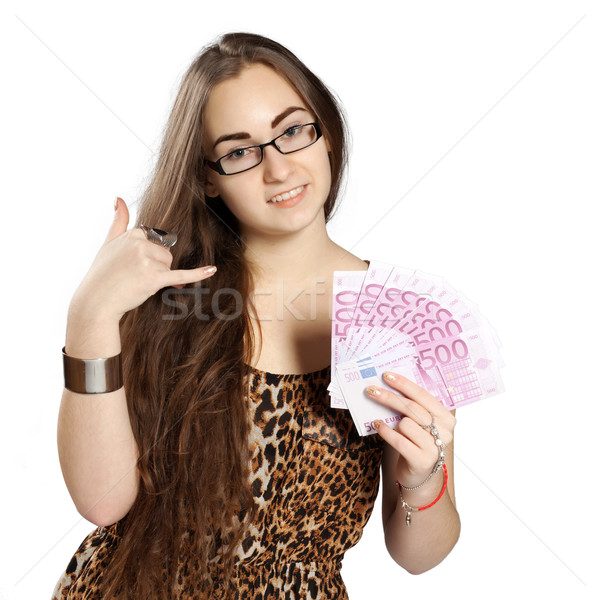 Tinilány pénz tinédzser lány leopárd ruha Stock fotó © maros_b