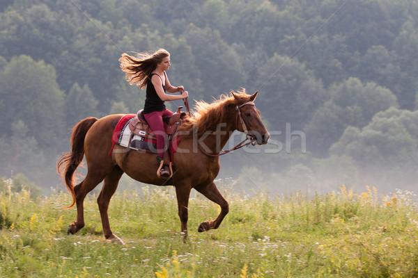 Młoda dziewczyna konia długie włosy jazda konna kwartał Zdjęcia stock © maros_b