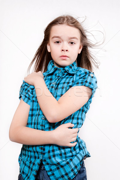 Piangere giovane ragazza blu moderno shirt Foto d'archivio © maros_b