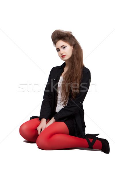 Nero rosso vestiti vestito rosso seduta Foto d'archivio © maros_b