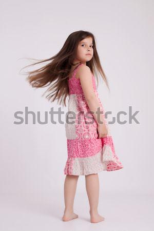 Meisje weinig meisje roze jurk Stockfoto © maros_b