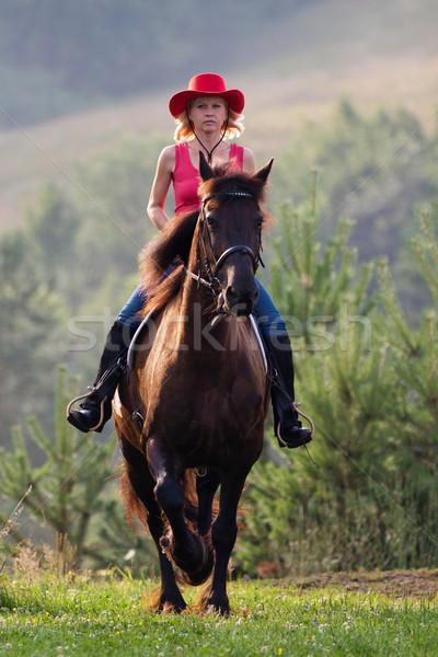 Donna rosso Hat equitazione prato cavallo Foto d'archivio © maros_b