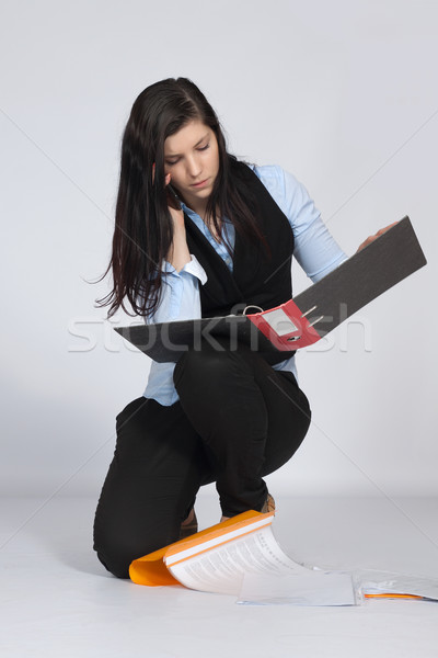 Young woman is squatting and phone Stock photo © maros_b