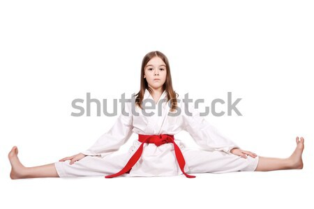 Dziewczyna karate młoda dziewczyna kimono czerwony pasa Zdjęcia stock © maros_b