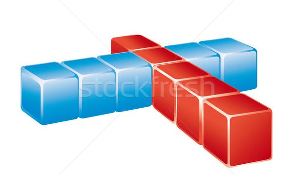 Rosso blu cross testo Foto d'archivio © maros_b