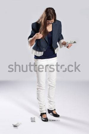 Young long-haired woman and tablet Stock photo © maros_b