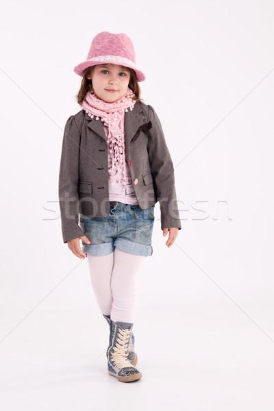 Kislány óvodás modell rózsaszín kalap kabát Stock fotó © maros_b