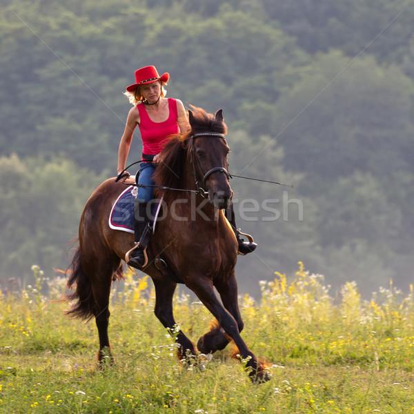 Nő piros kalap lovaglás legelő lóháton Stock fotó © maros_b