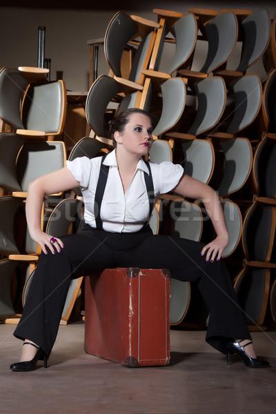 Nő férfi színpad öreg bőrönd lány Stock fotó © maros_b