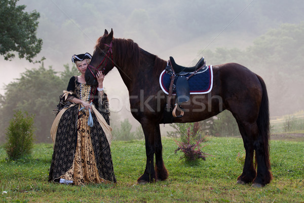 Woman in dress royal baroque riding Stock photo © maros_b