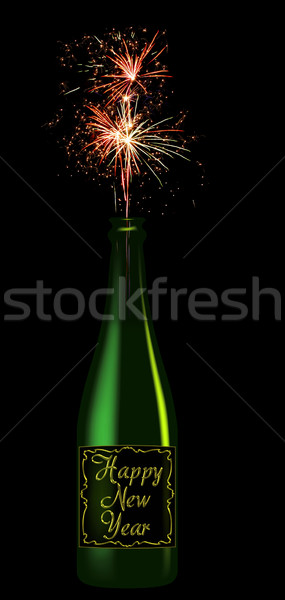 Stock photo: Champagne bottle with the inscription Happy New Year