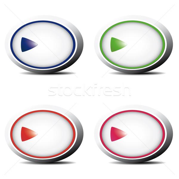 Przyciski zestaw niebieski zielone czerwony różowy Zdjęcia stock © maros_b