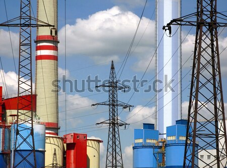発電所 電源 工場 電気 電気 線 ストックフォト © martin33