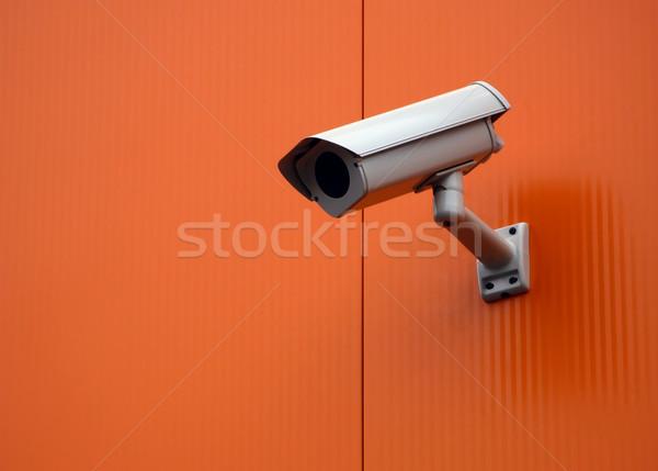 Biztonsági kamera televízió háttér biztonság narancs óra Stock fotó © martin33