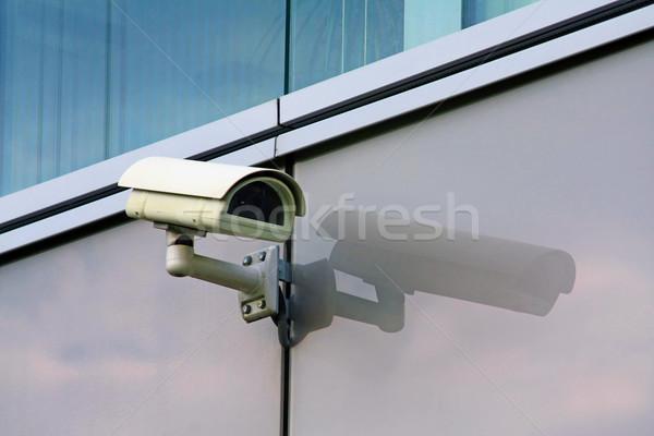 Bewakingscamera gebouw muur technologie video horloge Stockfoto © martin33