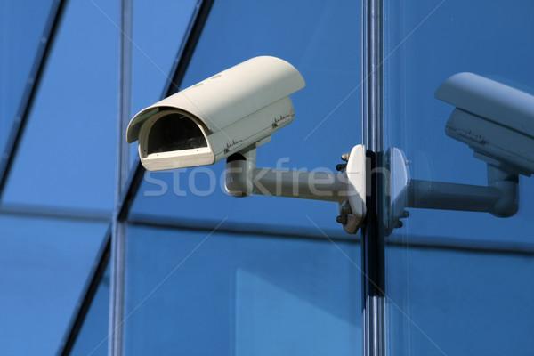 Güvenlik kamera teknoloji pencere izlemek mavi kentsel Stok fotoğraf © martin33