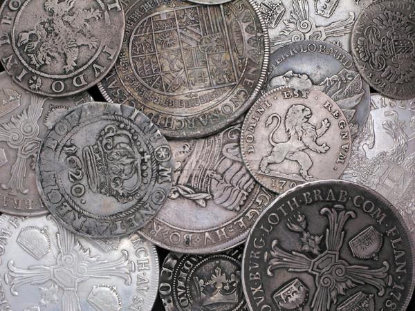 Oude zilver munten ontwerp kruis metaal Stockfoto © martin33