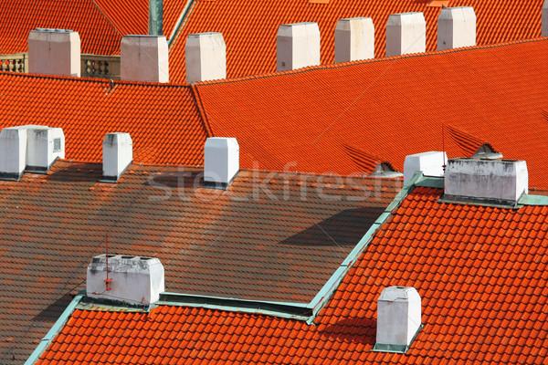 Kırmızı çatılar Prag ev mimari beyaz Stok fotoğraf © martin33