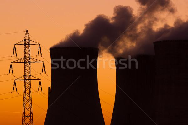 Nuclear usina pôr do sol laranja fumar industrial Foto stock © martin33
