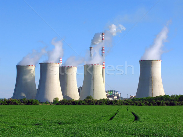Elektrik santralı manzara yeşil mavi fabrika yağ Stok fotoğraf © martin33