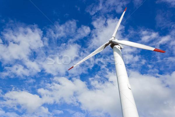 Rüzgar türbini modern fırıldak mavi bitki rüzgâr Stok fotoğraf © martin33