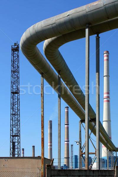 Energiecentrale gebouw rook Blauw industrie Stockfoto © martin33